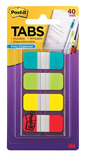 Post-it Tabs.625 in. Solid, Aqua, Lime, Yellow, Red, Durable, Writable, Repositionable, Sticks Securely, Removes Cleanly, 10/Color, 40/Dispenser, - Planner 3m