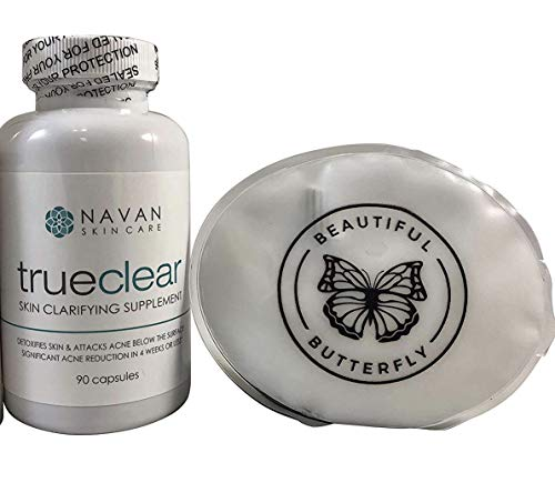 Navan Skincare TrueClear - Acne Pills and Vitamin Supplements for Acne Treatment and Skin Clarifying Made with Milk Thistle, Green Tea, Witch Hazel, Vitamins A and C (90 Pills) Bundle Includes Ice Pack