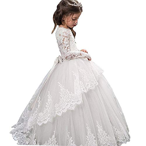 Vintage Princess Floral Lace 2017 Long Sleeves Flower Girls Dresses (Size 6, White)