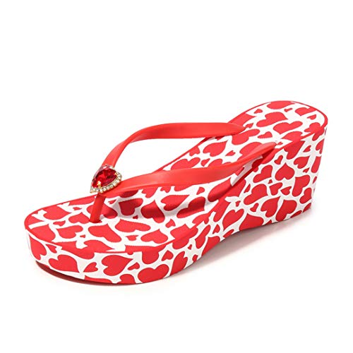 VOWAN Womens Fashion Wedge High Heel Flipflops Nonslip Clip Toe Dressy Summer Comfort Casual Beach Sandal ()