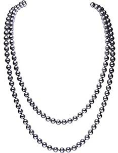 "BABEYOND ART DECO Fashion Faux Pearls Flapper Beads Cluster Long Pearl Necklace 55"" Diameter of Pearl 0.315"" (Grey)"