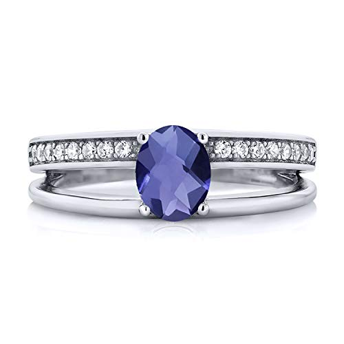 Gem Stone King 0.81 Ct Oval Checkerboard Blue Iolite 925 Sterling Silver Double Band Ring Women's Ring (Size 6) ()