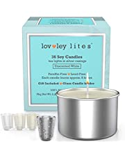 Lovley Lites Soy Tealight Candles Unscented - Box Set of 36 Premium Tealight Unscented Candles Long Burning + Tealight Candle Holder, 1 Inch Tall Soy Wax Tea Candles