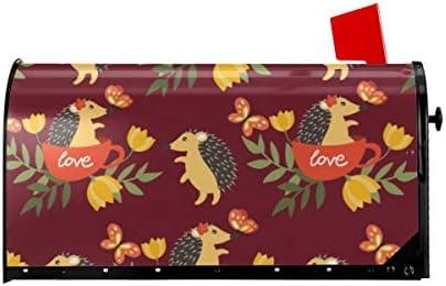 ウェルカムメールボックスカバーかわいいヤマアラシカップで愛の花と蝶磁気包まれたレターボックスポストボックスカバーガーデンヤードの装飾21x18 インチ