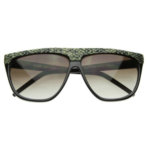 Trendy Fashion Urban Flat Top Vintage Shiny Snakeskin Horn Rimmed Sunglasses ()