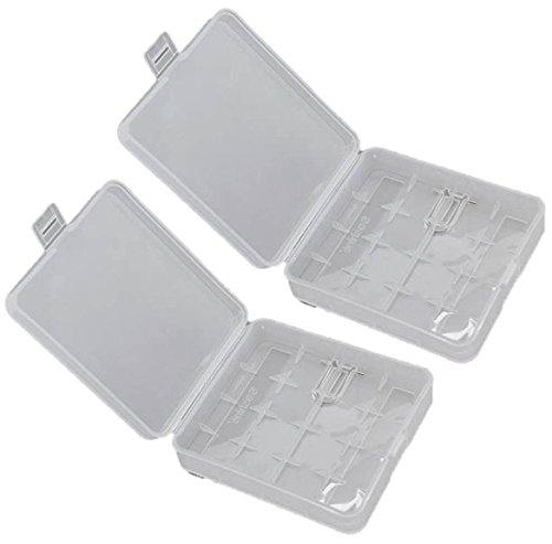 2 x White Clear Plastic Protective Storage Case Holder for 4 x 18650 Batteries OR 8 CR123A Batteries