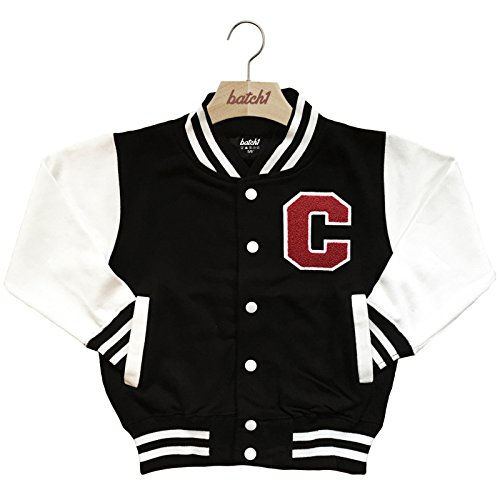Batch1 Kids Varsity Baseball Jacket Personalised With Genuine Us College Letter C (12-13 Years, -