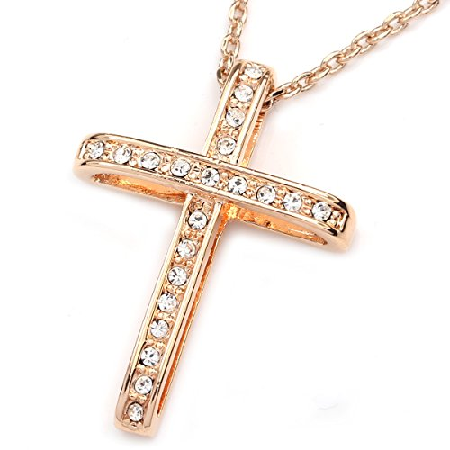 FC JORY Rose Gold Plated Cross Pendant CZ Crystal Rhinestones Necklace (Necklace Cross Rhinestone Pink)