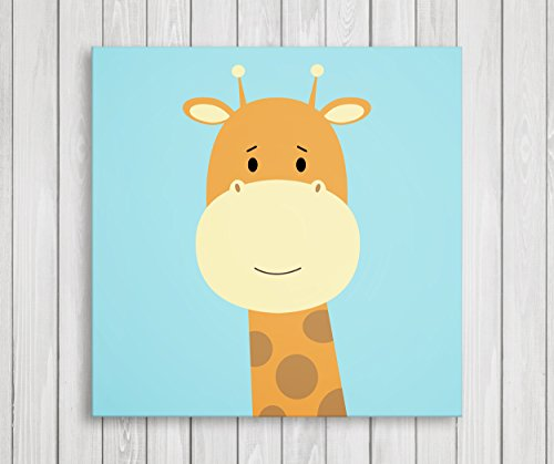 Cute Little Animals Nursery Canvas Print Wall Decor Baby Kid Room Canvas Art Print Safari Animals Poster Wall Art Print Great Set Idea  Ready to Hang 11quot W x 11quot H Giraffe