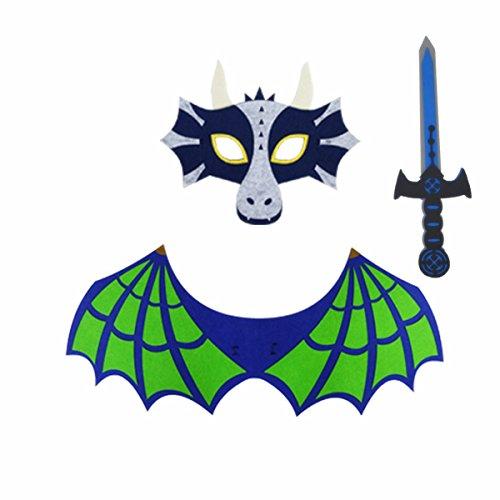 Starkma 3pc/Set Kids Dragon Dinosaur Green Wing Costume Cape Sword and Mask Set - Mask Sword