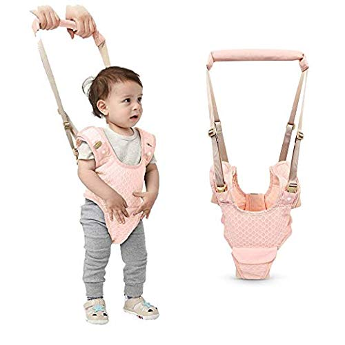 Handheld Baby Walking Harness for Kids, Adjustable Toddler Walking Assistant with Detachable Crotch&Bib, Safe Standing & Walk Learning Helper for 8+ Months Baby(Pink)