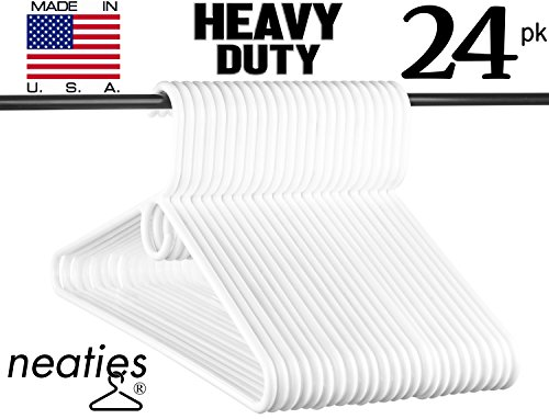 Neaties Heavy Duty White Plastic Hangers, American Made Heavy Duty Long Lasting Tubular Adult Hangers, Set of 24 (Plastic Hangers Tubular)