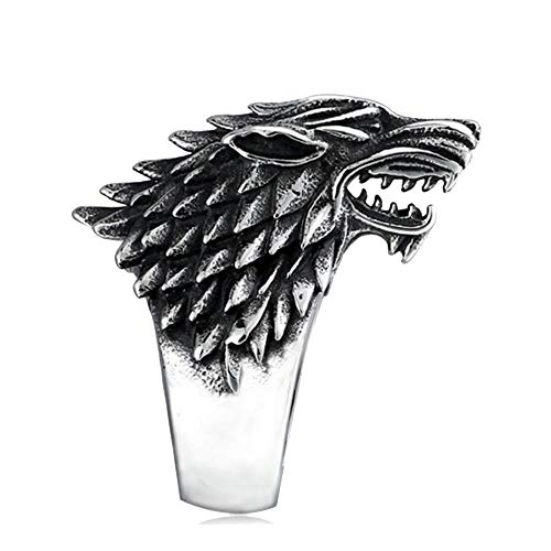SEVEN50 Stainless Steel Game Thrones Ice Wolf House Stark of Winterfell Biker Animal Ring Fashion Jewelry (11)