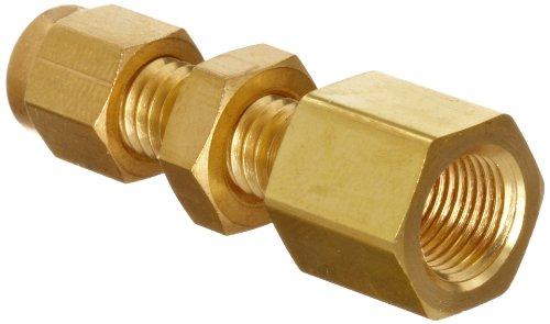 Parker A-Lok 2FBC2N-B Brass Compression Tube Fitting, Bulkhead Adapter, 1/8