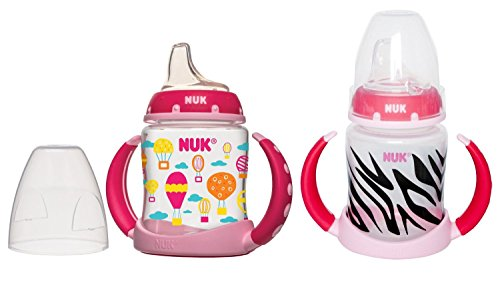 NUK Learner Cup Silicone Bundle Pack, Pink Balloon/Zebra, 5 Ounce, 2 Count