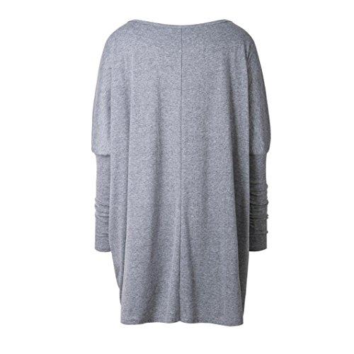 Mujer camisetas y tops OverDose manga larga cuello redondo blusa suelta Gris