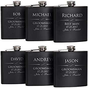 a0ae7a9a8a6c2 P Lab Set Of 6 - Groomsmen Gift - Groomsman Gifts For Wedding, Wedding  Favor Customized Flask Set w Optional Gift Box - Engraved 6oz Stainless  Steel ...