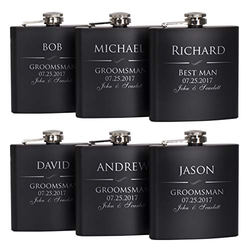 P Lab Set Of 6 - Groomsmen Gift - Groomsman Gifts For Wedding, Wedding Favor Customized Flask Set w Optional Gift Box - Engraved 6oz Stainless Steel Flask Custom Personalized Flask Gift Set, Black #1 ()
