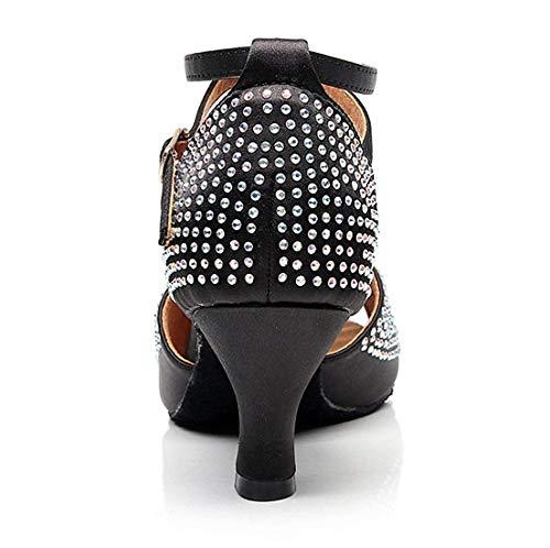 Festa Nere 2 Heel Qiusa Ladies Ballo Da Med colore Scarpe Uk Dimensione Crystalds Studded Sandali Sparkle zBaaxOfqP