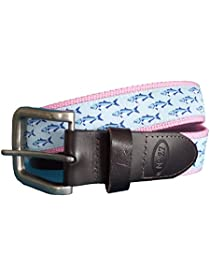 No27 Men's Bluefish Nautical Leather Belt, Bluefish Ribbon on Pink Webbing with Leather Tab and Buckle