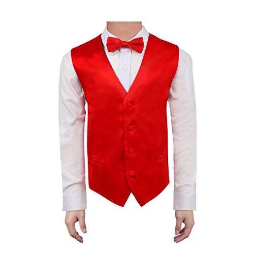 Dan Smith DGEE0020-12 Red Boys Solid Waistcoat Microfiber Online Shopping For Children Vest with Matching Bow Tie for Age 12
