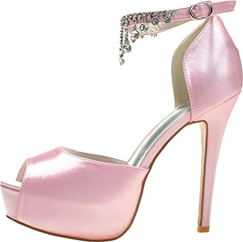 Slip Sandals Platform Pink Peep On Salabobo Wedding Party Comfort Rhinestone Ladies Dress 3128 Work Toe Bridesmaid Satin Prom 21 Bride x11ZgS