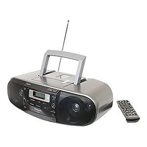 Panasonic RX-D55GC-K Boombox – High Power MP3 CD AM/ FM Radio Cassette Recorder with USB & Music Port Sound with 2-Way 4-Speaker (Black)