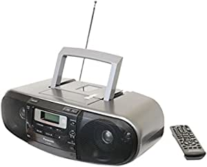 Panasonic RX-D55GC-K Boombox – High Power MP3 CD AM/FM Radio Cassette Recorder with USB & Music Port Sound with 2-Way 4-Speaker (Black)