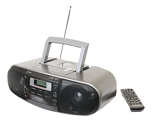 Panasonic RX-D55GC-K Boombox – High Power MP3 CD AM/ FM Radio Cassette Recorder with USB & Music Port Sound with 2-Way 4-Speaker (Black) (Mp3 Recorder Cd)