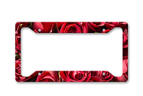 The Turnip Seed Co Red Rose - Roses - Print License Plate Frame LP1427 (Flower License Plates)