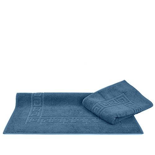 Luxury Hotel & Spa Towel Turkish Cotton Greek Key (Large Bath Mat - Set of 2, Wedgewood)