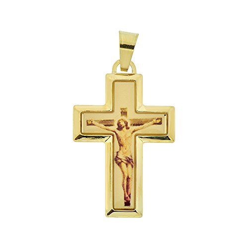 14k Yellow Gold, Crucifix Cross Colorful Resin Overlay Jesus Christ Religious Pendant