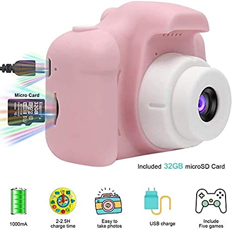 Kinder-Digitalkamera 1080P HD-Video-Digitalkamera mit 2-Zoll-LCD-Bildschirm 32G-Speicherkarte-A2 Kinderkamera