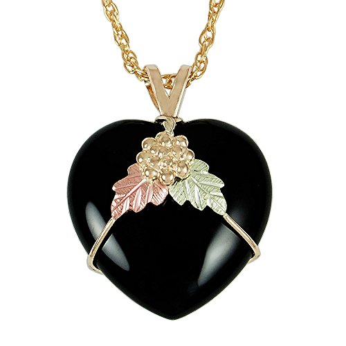 Natural Heart Onyx Pendant with 12k Black Hills Gold Leaves