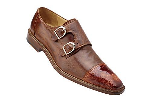 Belvedere Men's Amico Cap Toe Monkstrap Oxford,Brandy/Antique Brown Ostrich/Ital ()