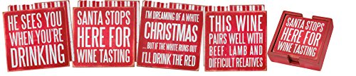 Primitives By Kathy Box Sign Coasters (Set of 4) - Xmas Wine ()