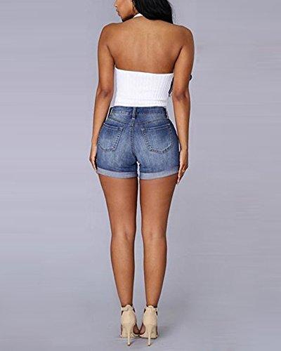 Alta Retro Jeans Denim Pantaloncini Jeans Vita Con Donne Blu Cintura Short aqtgg