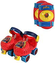 Playwheels Spider-Man Roller Skates with Knee Pads and Helmet