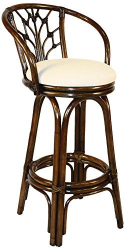 Outdoor Wood Finish Bar Stool - Hospitality Rattan 806-6094-ATQ-B Valencia Indoor Swivel Rattan & Wicker Bar Stool in Antique Finish with Cushion, 30