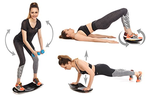 Balance Board Set | Premium Quality Fit Board + Workout Mat + 2 Resistance Bands + Instructions | Core, Abs, Arms, Legs Toning Improve Balance with a Simply Twist Home Fitness Exercise Equipment
