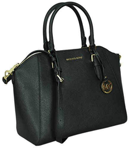 Michael Kors Large Ciara Saffiano Leather Womens Satchel Shoulder Bag (Black)