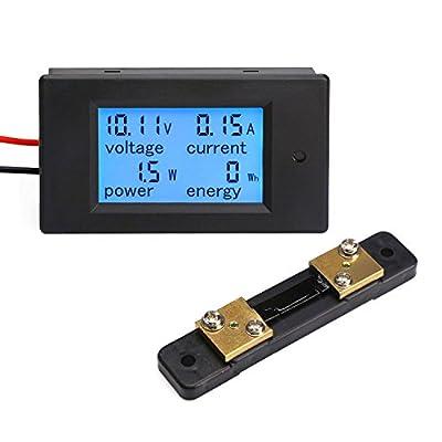 DROK Digital Multimeter DC 6.5-100V 100A Voltage Amperage Power Energy Meter LCD Digital Display Measuring Volts Current