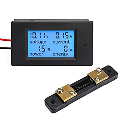 DROK Small Digital Multimeter DC 6.5-100V 50A Voltage Amperage Power Energy Meter DC Volt Amp Tester Watt Meter Gauge Monitor LCD Digital Display