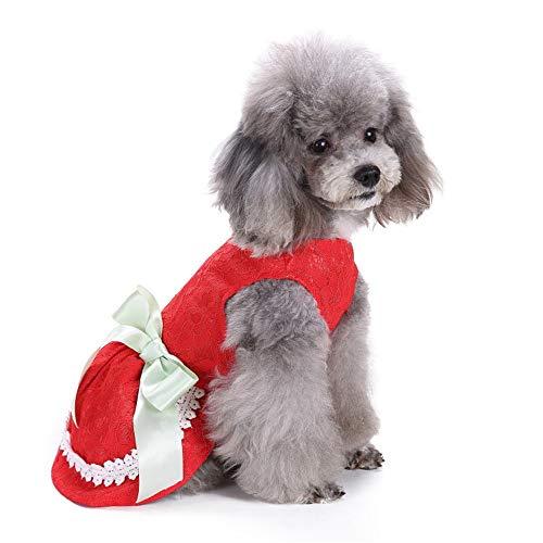 duduxiaomaibu Cute Polka Dot Ribbon Dog Dress Dog Clothes Cozy Dog Shirt Pet Dress(color1-M)