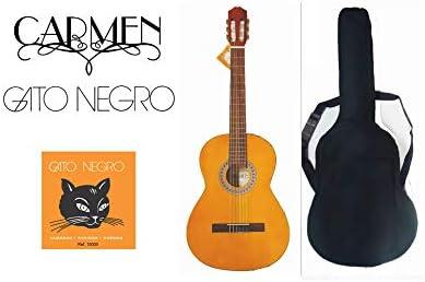 Pack guitarra clásica Carmen C-425 de tamaño 4/4, con funda acolchada negra mochila y juego de cuerdas Gato Negro