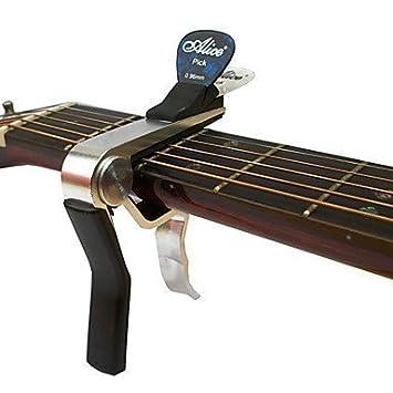 Capo Universal para Guitarra Eléctrica y Acústica - Soporte de Plectro Integrado - Cromado: Amazon.es: Instrumentos musicales