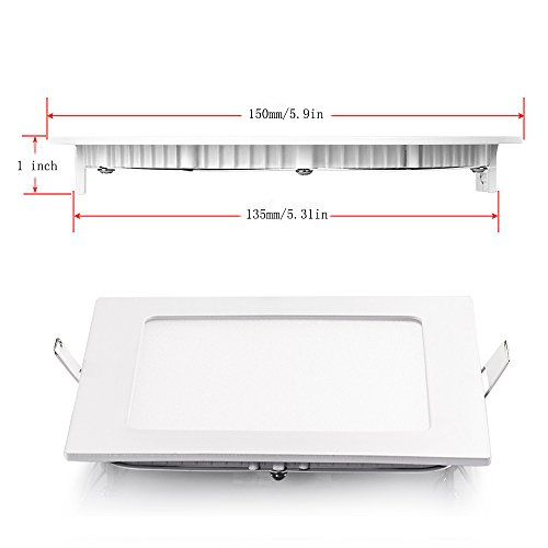 SAYHON Ultra-Thin 9W 5-inch LED Retrofit Recessed Lighting Kit Fixture, Non-Dimmable Square Flat Panel Ceiling Light Downlight, 3000K Warm White 135MM Cut Hole for Hallway/Kitchen/Bedroom/Home/Office by SAYHON (Image #3)