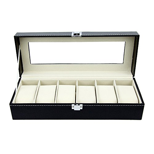 Watch Box 6 Black Mens Womens Leather Display Glass Top Jewelry Case Organizer by - Sunglasses World Watches Of
