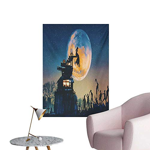 Anzhutwelve Fantasy World Wall Paper Dead Queen in Castle Zombies in Cemetery Love Affair Bridal Halloween ThemeBlue Yellow W24 xL36 Cool Poster]()