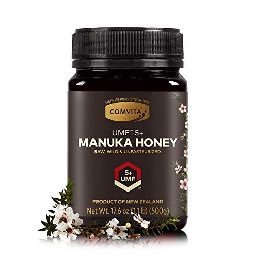 - Comvita Certified UMF 5+ (MGO 83+) Manuka Honey I New Zealand's #1 Manuka Brand I Raw, Non-GMO, Halal, and Kosher I Authentic (17.6 oz)
